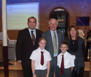 Scargill pupils and Johnny Ball